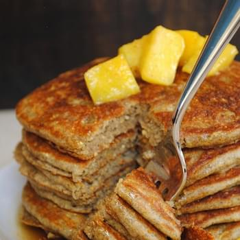 Whole Grain Pancakes with Pineapple-Ginger Compote