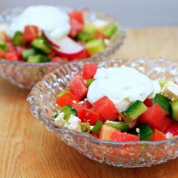 Watermelon and Feta Salad with Chopped Vegetables