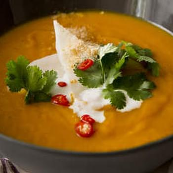 Roast pumpkin soup with Thai flavours and young coconut