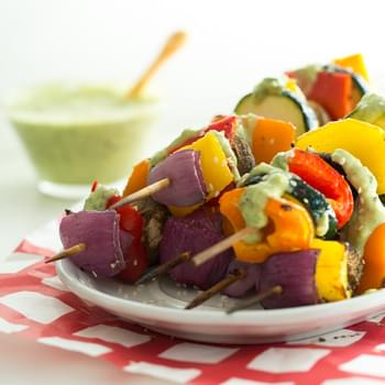 Vegan Green Goddess Dressing with Grilled Veggie Kabobs