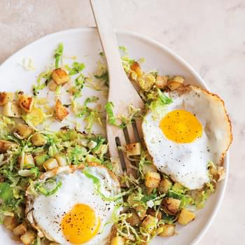 Brussels Sprouts & Potato Hash with Fried Eggs