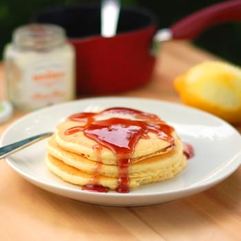 Lemon Pancakes and Blackberry Syrup
