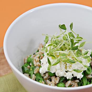 Farro with Sweet Peas, Fresh Herbs and Ricotta