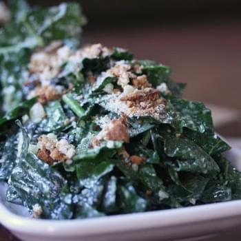Kale Caesar Salad with Roasted Garlic Dressing