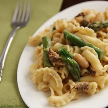 Pasta with Asparagus, Cannellini Beans, and Porcini Cream