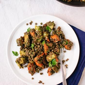 Roasted Carrot and Potato, Lentils and Miso Parsley Sauce