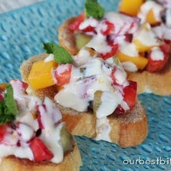 Fresh Fruit Bruschetta with Orange-Honey Cream