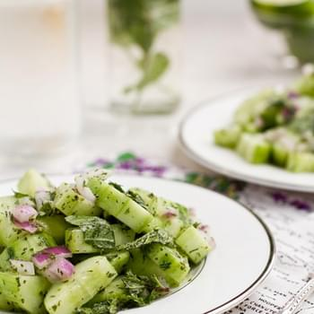 Refreshing Cucumber Salad with Creamy Mint Dressing