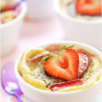 Orange-flavored Strawberry and Rhubarb Clafoutis