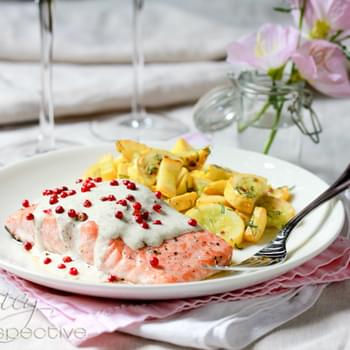 Roasted Salmon With Pink Peppercorn Sauce
