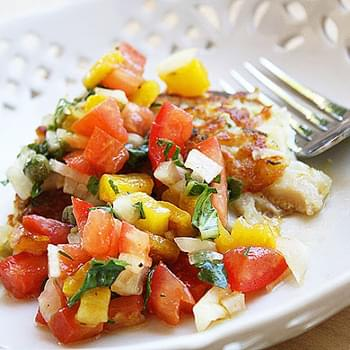 Potato-Crusted Snapper with Bell Pepper Salsa