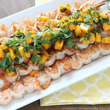 Grilled Shrimp Skewers with Mango Salsa