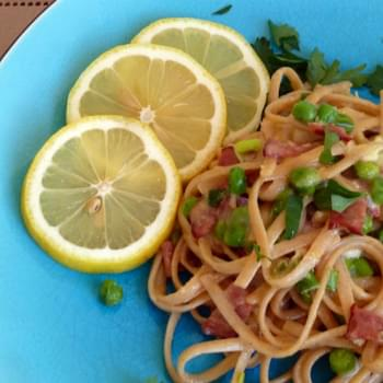 Pasta Carbonara with Peas and Green Onion Inspired by Rachael Ray.com