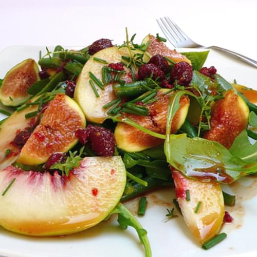 Green Bean, Rocket, Peach And Fig Salad With A Raspberry And Balsamic Vinegar Dressing