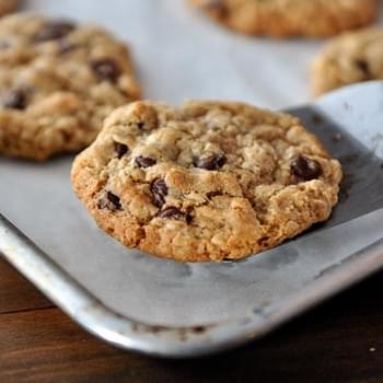 Whole Wheat Coconut Oil Chocolate Chip Oatmeal Cookies