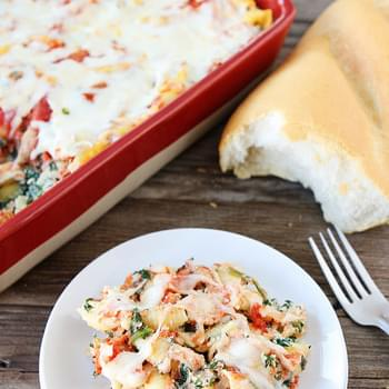 Easy Baked Pasta With Spinach, Ricotta, Parmesan, Marinara Sauce, And Mozzarella Cheese-a Great Weeknight Meal!