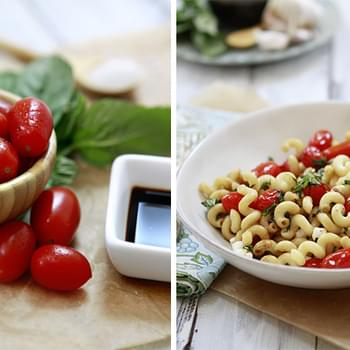 Caprese Pasta - Pasta with Tomatoes, Basil and Mozzarealla