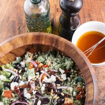 "Raw Cauliflower ""Couscous"" Greek Salad"