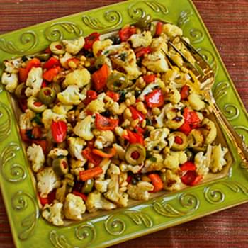 Roasted Cauliflower with Red Bell Pepper, Green Olives, and Pine Nuts (Christmas Cauiflower)