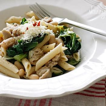 Penne with Italian Chicken Sausage, Escarole and Beans