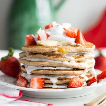Easy Vegan and Gluten-Free Pancakes (Strawberry Shortcake + Whipped Cream)