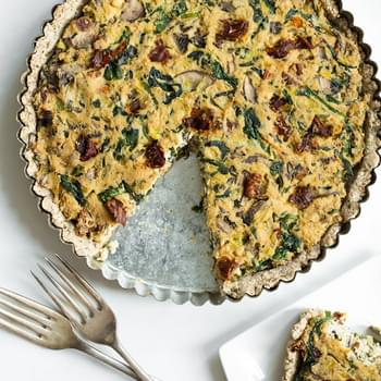 Sun-dried Tomato, Mushroom, and Spinach Tofu Quiche
