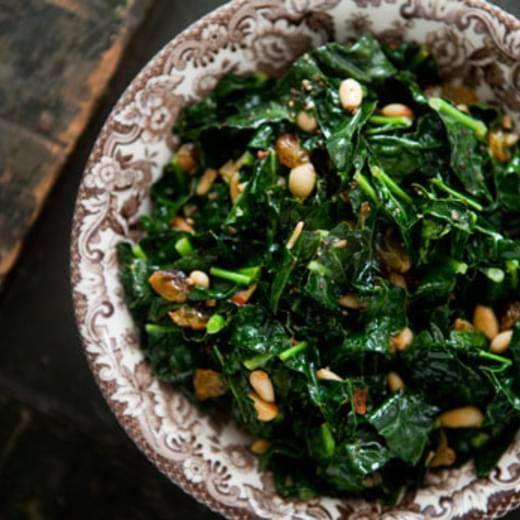 Sautéed Greens with Pine Nuts and Raisins