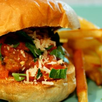 Turkey Meatball Sliders and Red Sauce