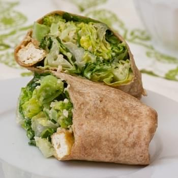 Caesar Wrap with Tofu Croutons and Broccoli
