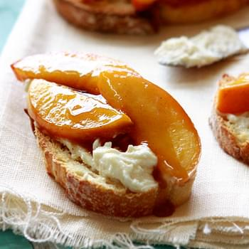 Roasted Peach Crostini with Brown Sugar and Ginger [Giveaway]
