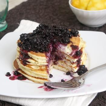Lemon Ricotta Pancakes with Blueberry Sauce