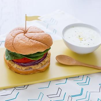 Cauliflower Hummus Burgers with Mint Tzatziki