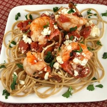 Greek- Style Shrimp Scampi w/ Whole Wheat Spaghetti