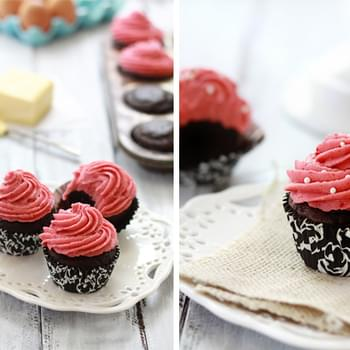 Chocolate Sour Cream Cupcakes with Raspberry Cheesecake Buttercream