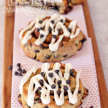 Chocolate Chip Cinnamon Roll Scones w/ Cream Cheese Icing