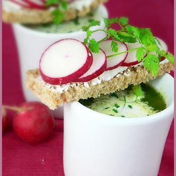 Red Radish and Arugula Soup