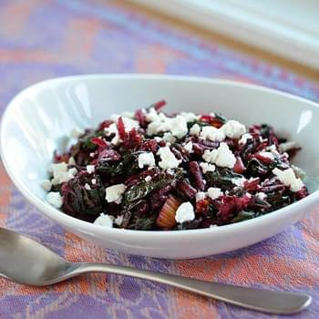 Sautéed Rainbow Chard with Raw Beets and Goat Cheese