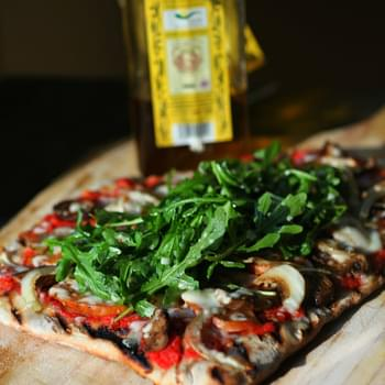 Grilled Andouille Pizza with Arugula Salad