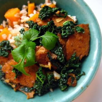 Orange Pan-glazed Tempeh with Kale and Sweet Potato Rice