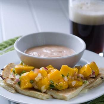 Gluten Free Brie Quesadillas with Mango Salsa and Chipotle Sour Cream