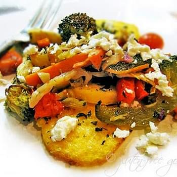 Easy Roasted Vegetables on Broiled Polenta