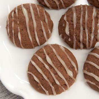 Hot Chocolate Cookies with Marshmallow Glaze