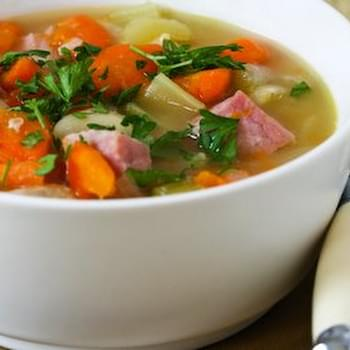 Pressure Cooker Vegetable Soup with Giant White Beans, Ham, and Bay Leaves