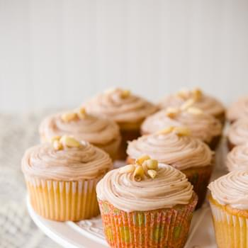 One Bowl Pine Nut Cupcakes with Raspberry Cream Cheese Frosting