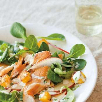 Smoked Trout & Apple Salad with Polenta Croutons