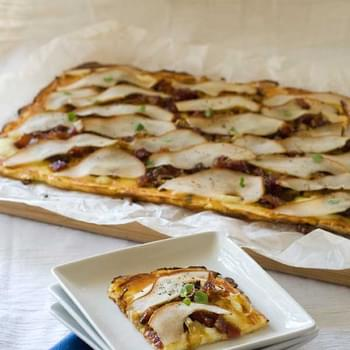 Gluten Free Flourless Pizza with Pears, Candied Bacon and Caramelized Onions