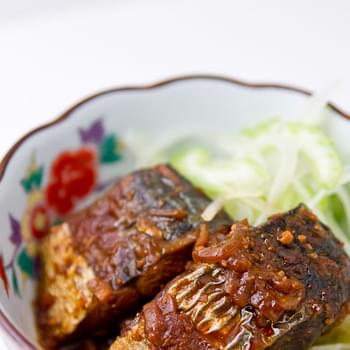 Miso Braised Mackeral with Spicy Mustard Salad