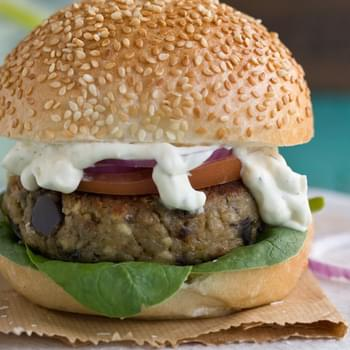 Aubergine And Feta Burger With Minty Creme Fraiche