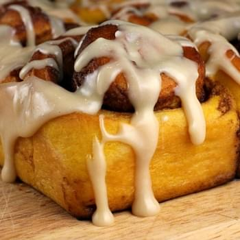 Pumpkin Cinnamon Rolls with Maple Icing
