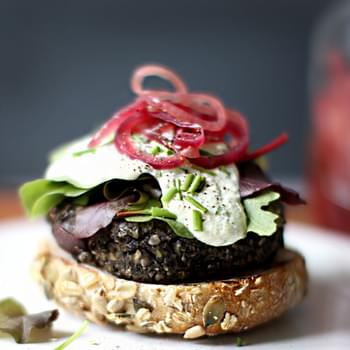 Wild Mushroom Lentil Burgers with Cashew Garlic Sauce at Whole Living